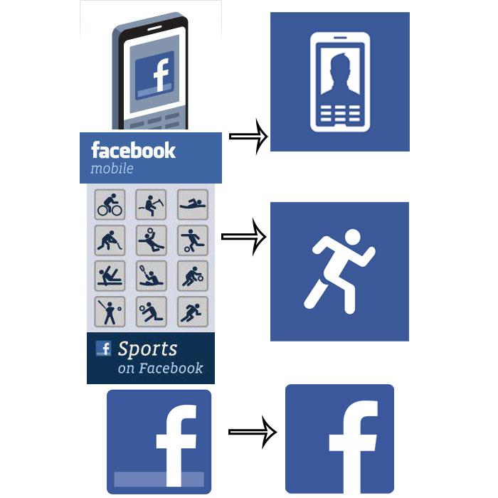 Facebook mit neuen Symbolen – Logos