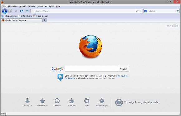 Firefox 19 im Retrostil (klassisch)