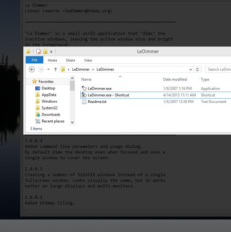 Le Dimmer Desktop abdunkeln und nur das aktive Fenster anzeigen