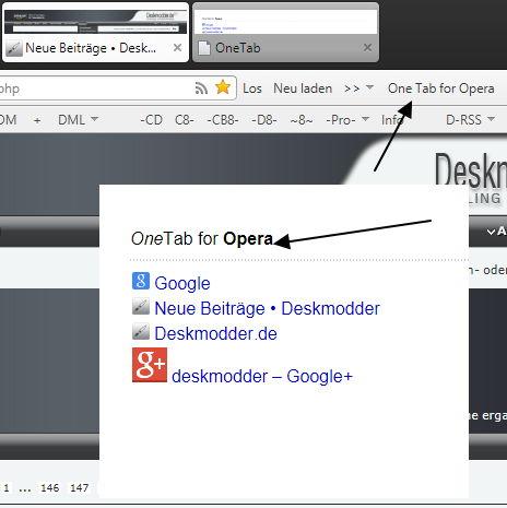 OneTab Opera Erweiterung