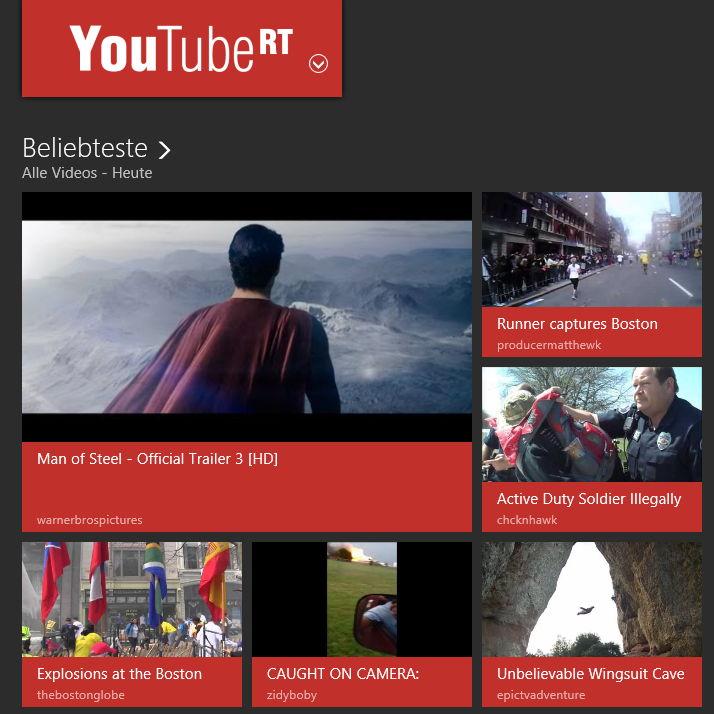 YouTube RT bis zum 24.4 kostenlos Windows 8 App