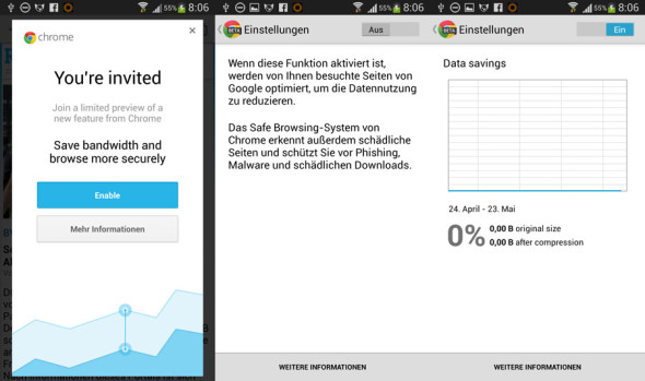 Android: Chrome Beta mit Turbo