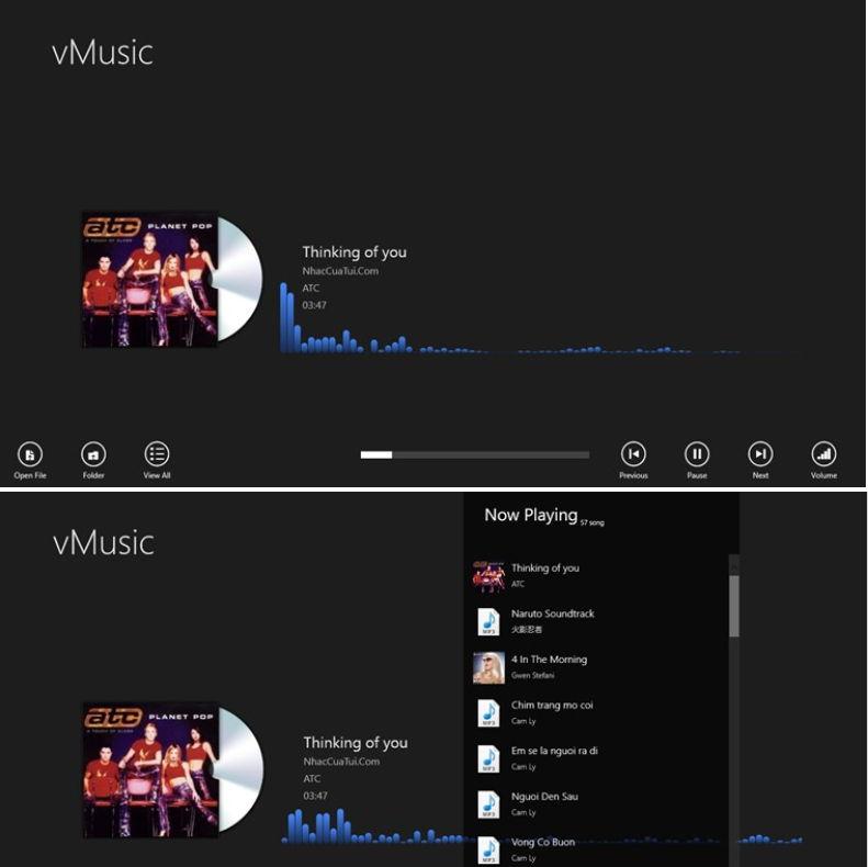 vMusic Windows 8 App Musikplayer mit Visualizer