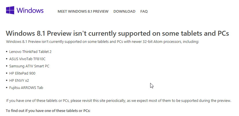 Die Win 8.1 Preview ist nicht auf jedem Tablet oder PC installierbar