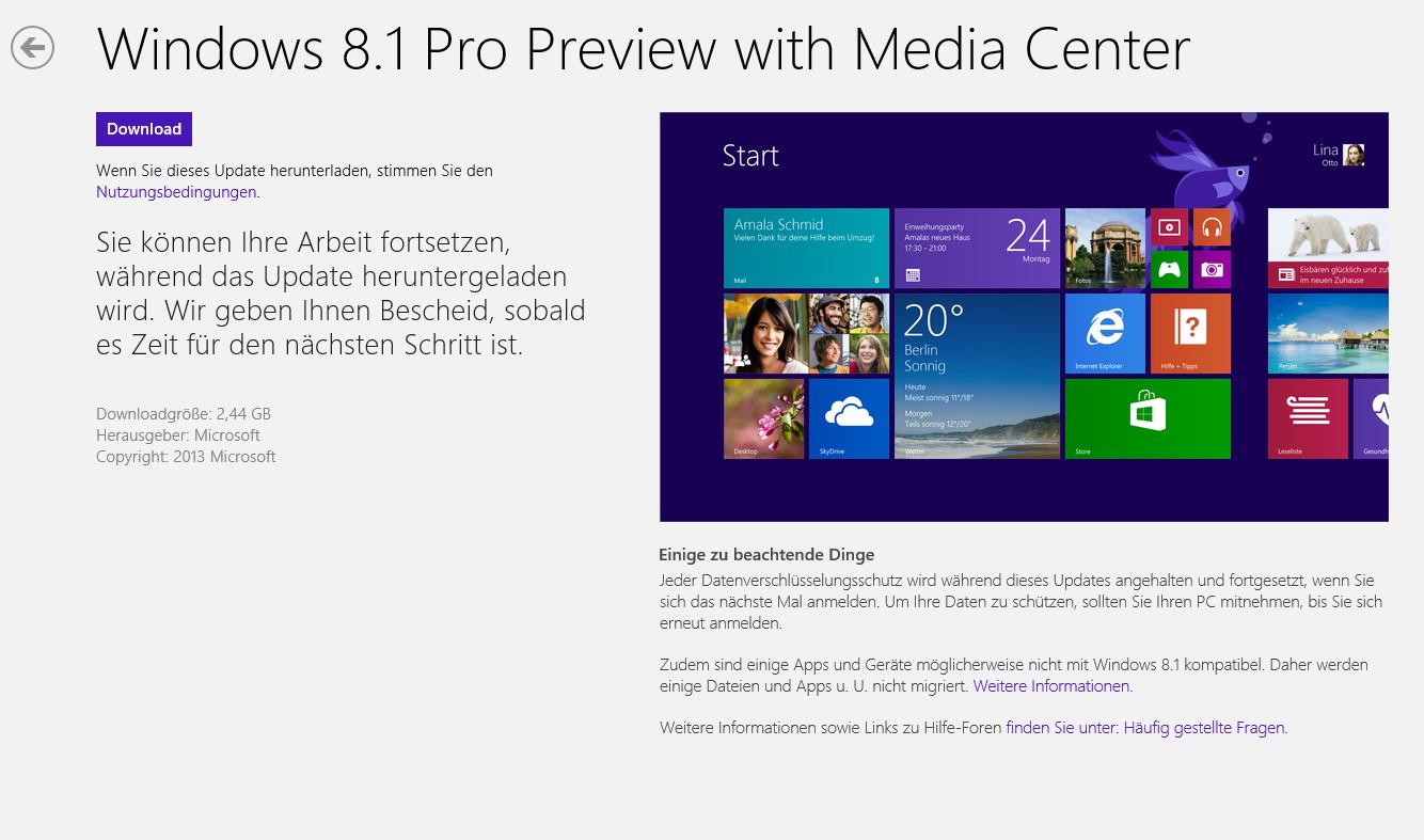 Windows 8.1 Prev. Downloadlink und Installationshinweise