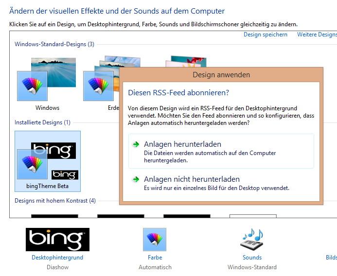 Bing-Theme: Täglich das Wallpaper automatisch wechseln Windows 8.1