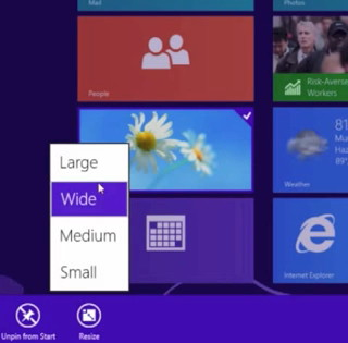 Kacheln verkleinern / vergrössern noch einfacher in der Windows 8.1