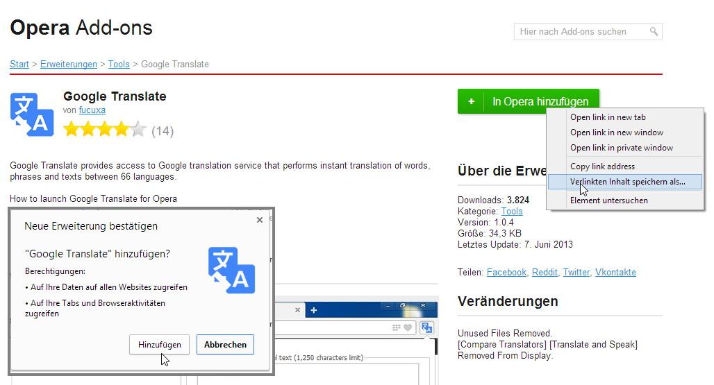 Opera Erweiterungen im Google Chrome installieren