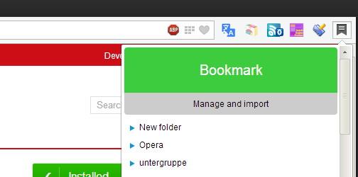 Opera Next mit einem Bookmarks Manager als Addon