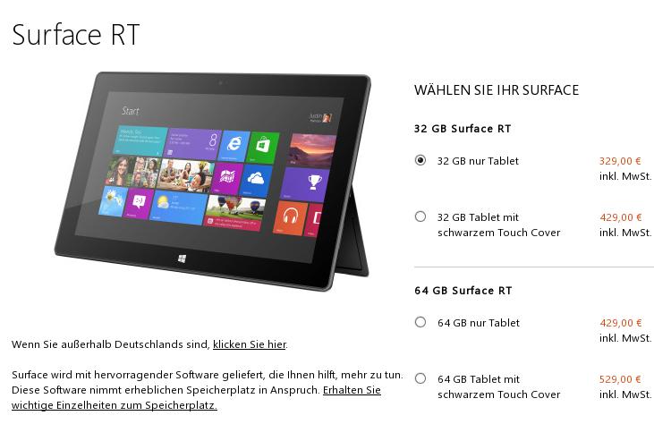 [Update] Nun auch das Surface RT mit 64GB im Preis gesenkt