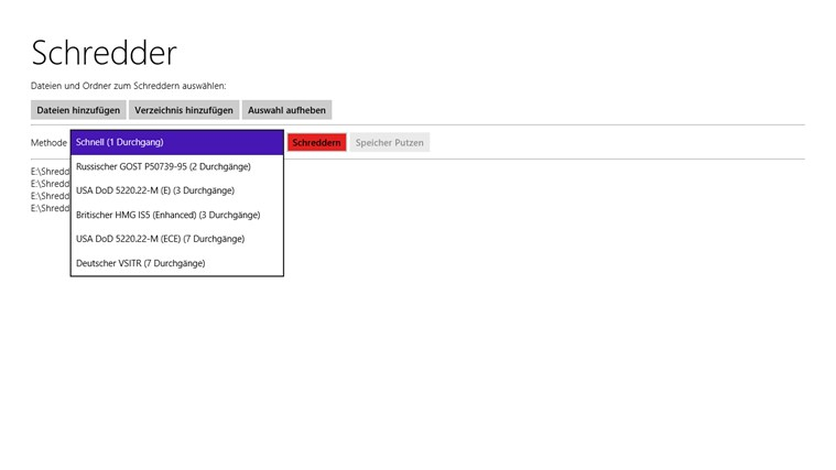 Shredder8 – Datenvernichter für Windows 8 & Windows RT