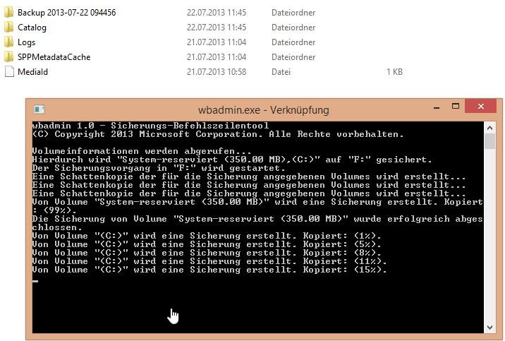Windows 8.1 Sicherung (Backup) per Verknüpfung oder Aufgabenplanung [Update]