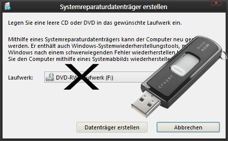 Windows 8.1 erstellt keine Systemreparaturdatenträger mehr