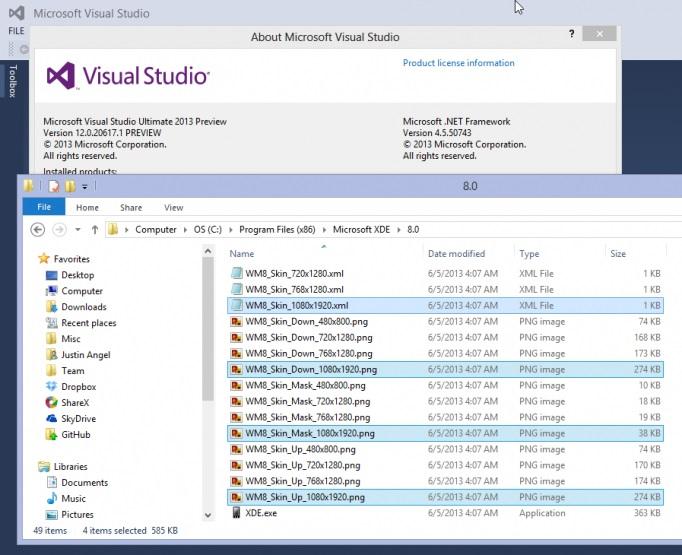 Hinweise auf 1080p Auflösung für Windows Phone 8 innerhalb von Visual Studio 2013