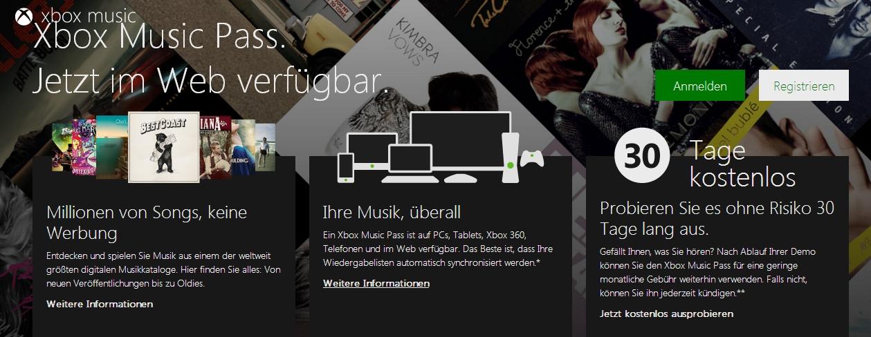 Xbox Music nun auch im Browser nutzbar