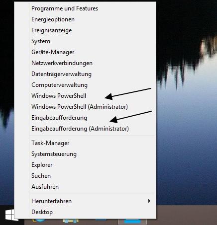 Eingabeaufforderung zusätzlich zu PowerShell im Win+X Menü Windows 8.1