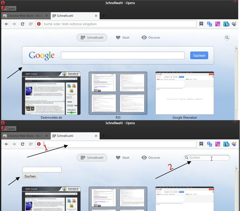 Opera: Google Suchbox in der Schnellwahl entfernen