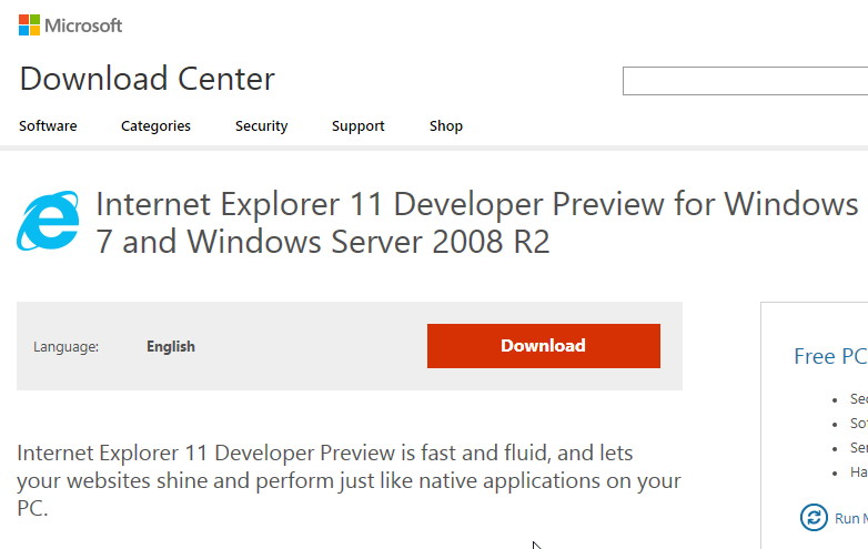 Internet Explorer 11 DP für Windows 7