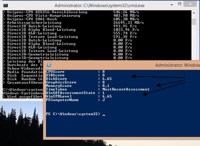Leistungsindex nicht vorhanden in Windows 8.1 und trotzdem anzeigen lassen
