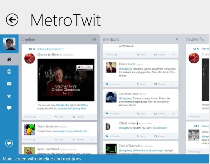 Metro Twit: Windows 8 Twitter App mit einem Redisign