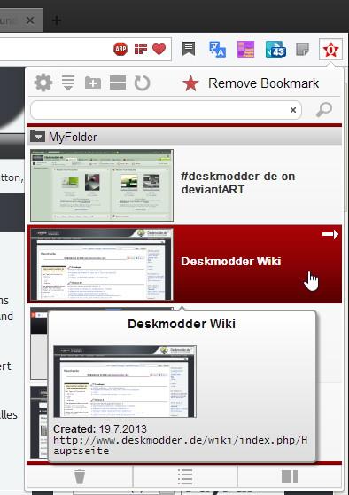 RealBookmarks: Opera ab 15 Lesezeichen Erweiterung