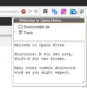 Opera Notes: Notizen für Opera ab Version 15