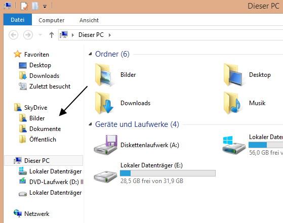 SkyDrive aus dem Datei Explorer entfernen Windows 8.1