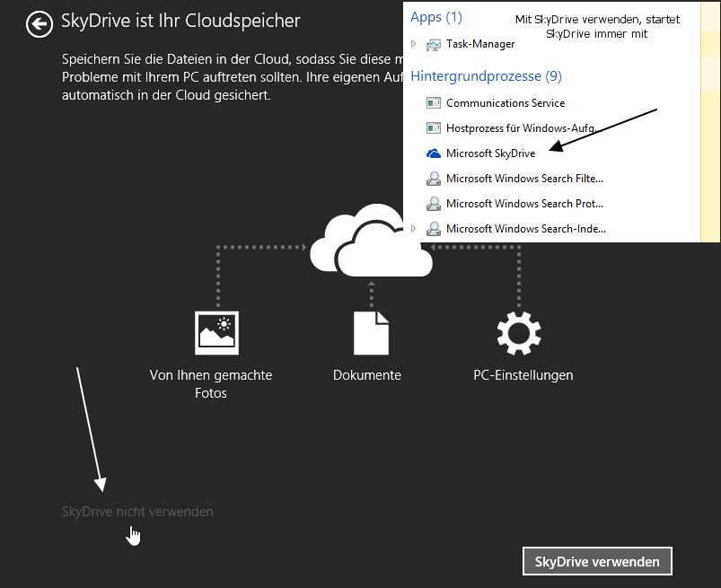 SkyDrive aus dem Autostart entfernen Windows 8.1