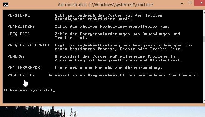 powercfg mit einem neuen Befehl sleepstudy in Windows 8.1