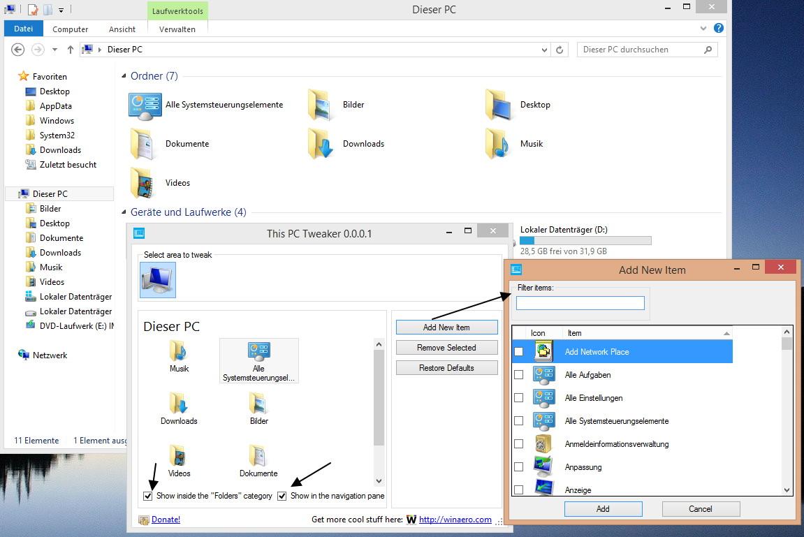 """This PC Tweaker – Ordner aus """"Dieser PC"""" entfernen oder hinzufügen Windows 8.1"""
