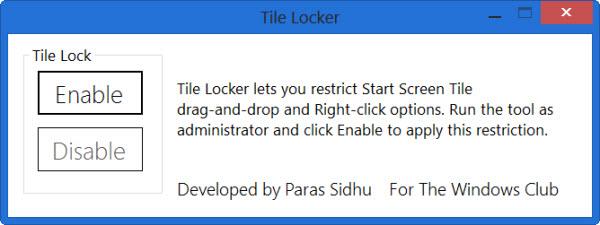 Tile Locker – Anordnung der Tiles des Windows 8/ 8.1 Startbildschirms sperren