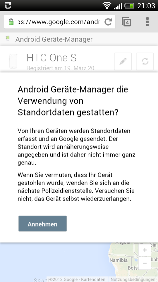 Kurzinfo -Android Geräte-Manager online