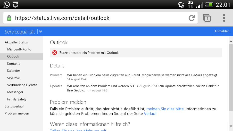 [Kurzinfo] – Microsoft offensichtlich mit Problemen bei Outlook