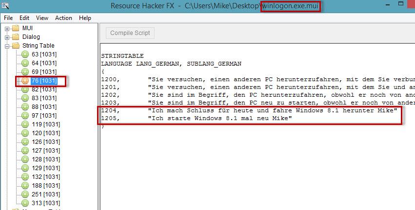 Texteinträge beim Abmelden, Anmelden, Herunterfahren und Neustarten von Windows 8.1 ändern