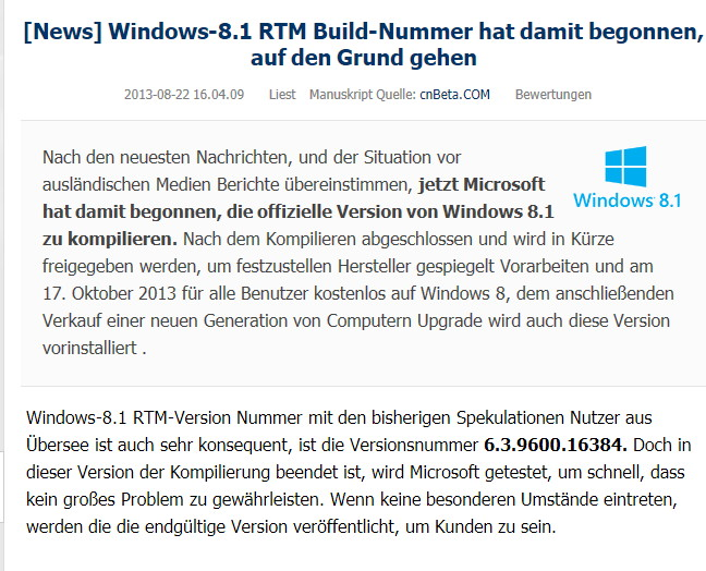Windows 8.1 RTM Build 6.3.9600.16384 könnte, muss aber nicht