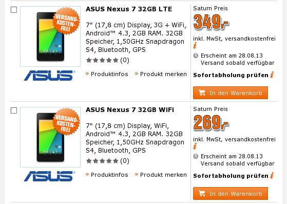 Nexus 7 (2013) auch bei Saturn vorbestellbar