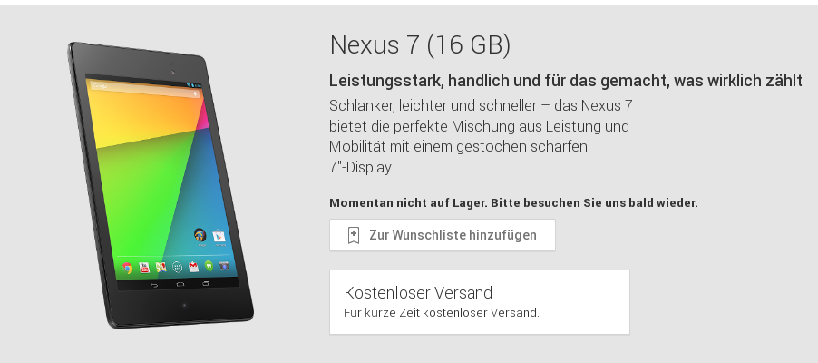 Nexus 7 (2013) im Play Store sowie teilweise bei Media Markt und Saturn aktuell ausverkauft