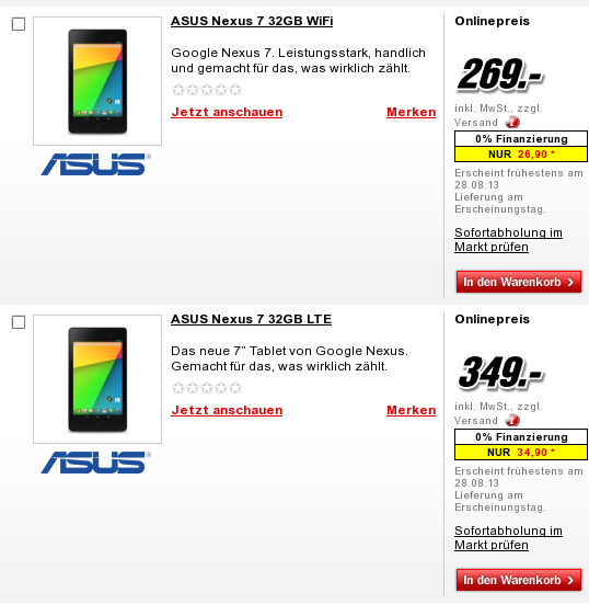 Nexus 7 (2013) bei Media Markt vorbestellbar