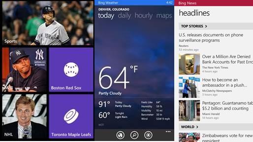 Mehrere Bing-Apps für das Windows Phone