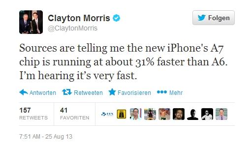 A7 Chip im iPhone 5S soll Leistungssteigerung von 31% liefern