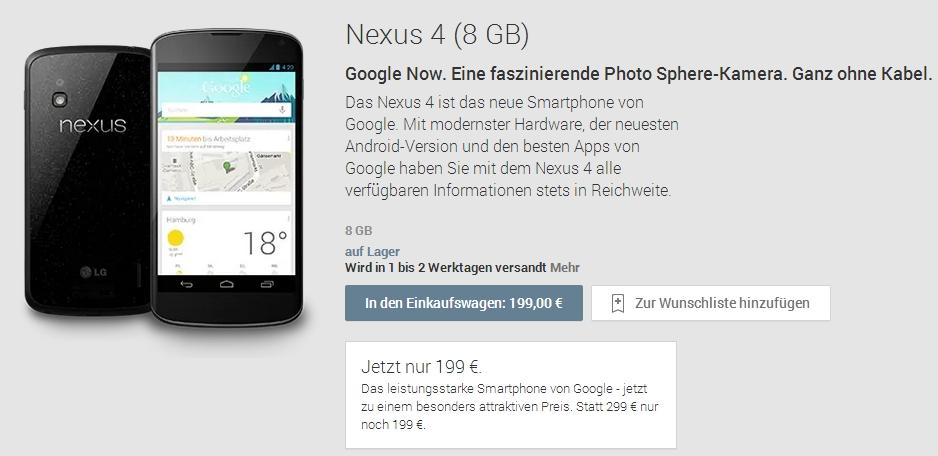 Das Google Nexus 4 zum Schnäppchenpreis von 199,- Euro