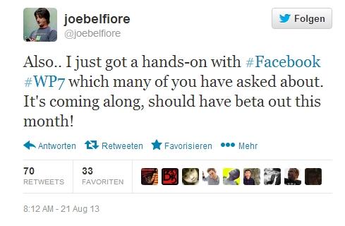 BETA-Version des Facebook-Apps für Windows Phone 7 erscheint bald