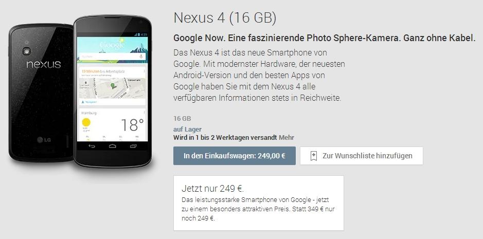 [Nachtrag] 16 GB Version des Google Nexus 4 nun für 249,- Euro – Und Preisgarantie