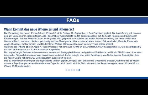 1&1 mit Infos zum iPhone 5S und iPhone 5C in seinen FAQs