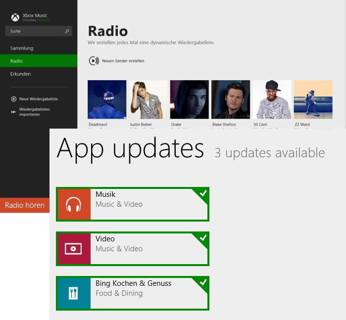 Musik und Video App unter Windows 8 / 8.1 mit einem Update