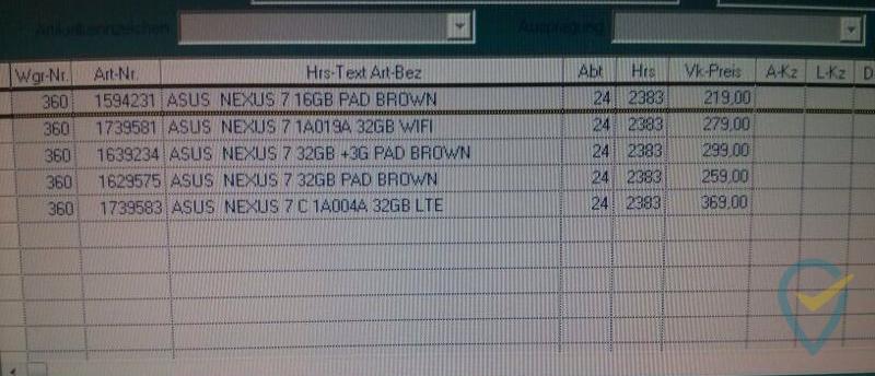 Warensystem von Saturn listet das neue Nexus 7 ab 279,- Euro
