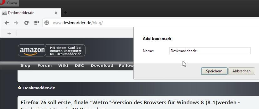Opera 17 dev. nun mit der Quick Access Bar
