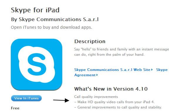Skype für das iPad 4 nun mit HD Video Übertragung