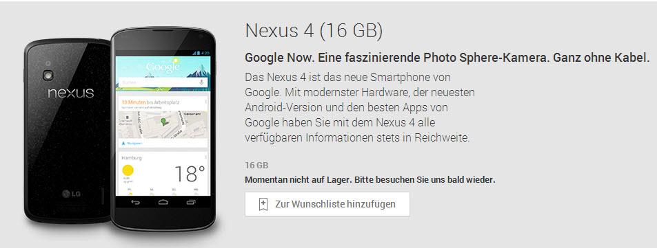 Nexus 4 bei Google Play und in den Onlineshops von Media Markt & Saturn ausverkauft