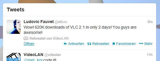VLC 2.1 mit wahnsinns Downloadzahlen